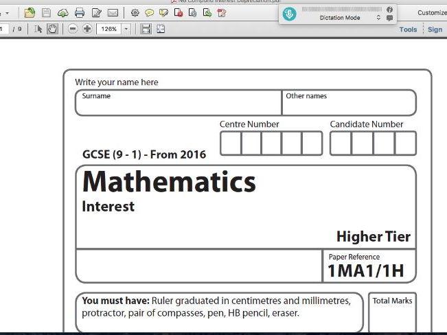 GCSE Maths Exam Style Paper Compound Interest Depreciation Decay