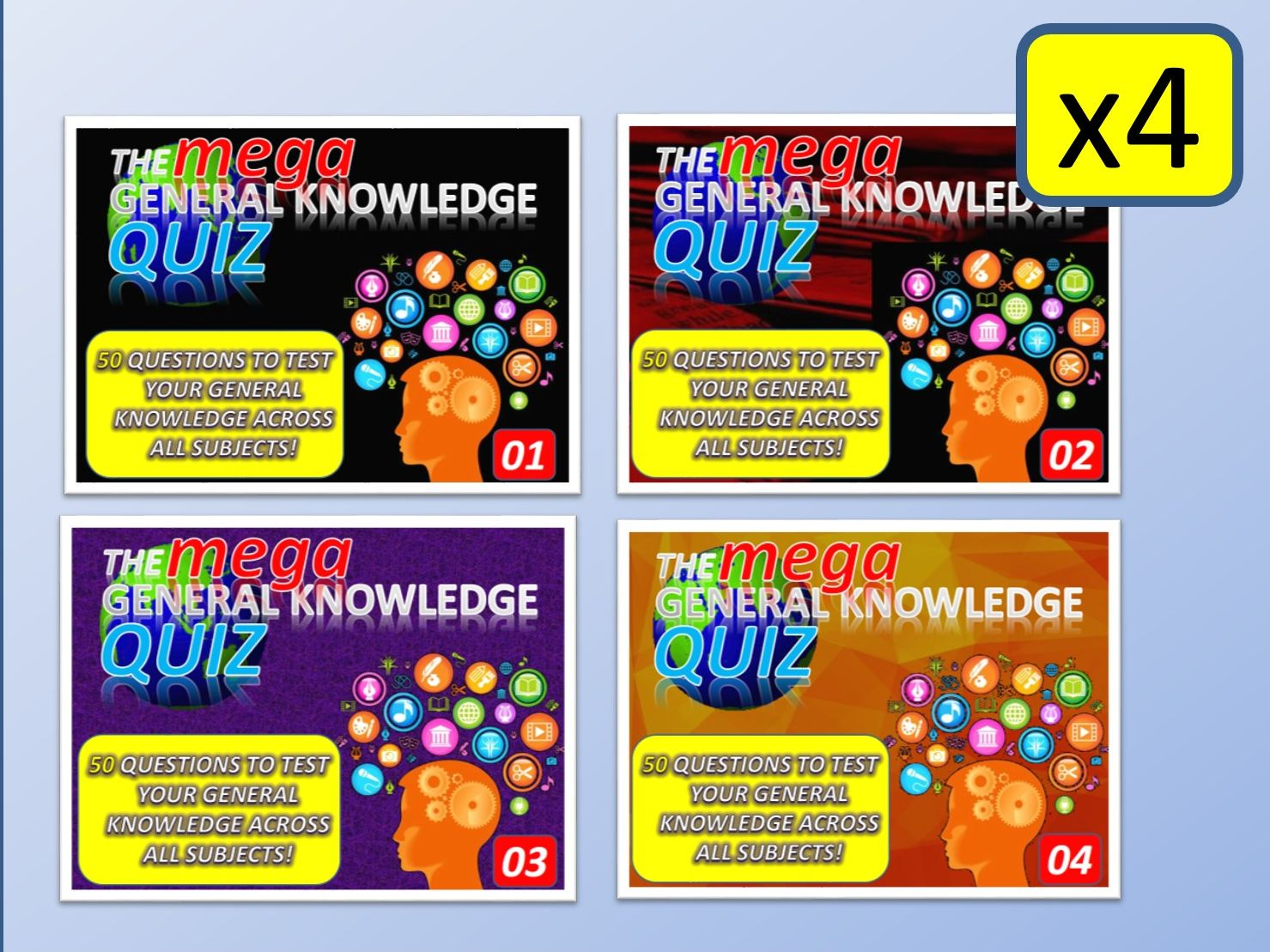 4 x The MEGA General Knowledge Pub Quiz (4 x 50 Questions) Form Tutor Time Settler End of Term