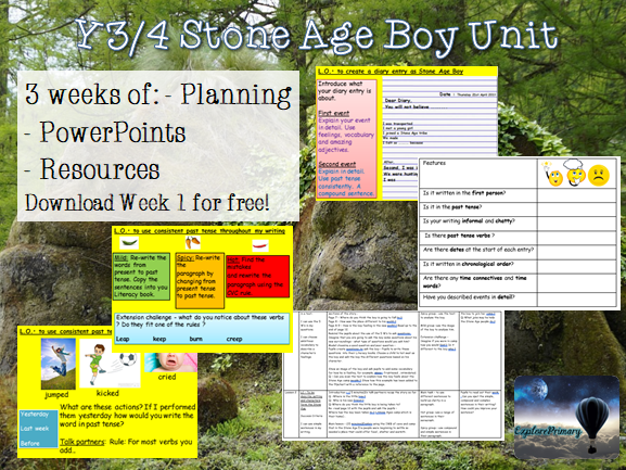 Y3/4 Stone Age Boy - x3 Weeks of Planning - Instructions, story, fact file, non chronological report