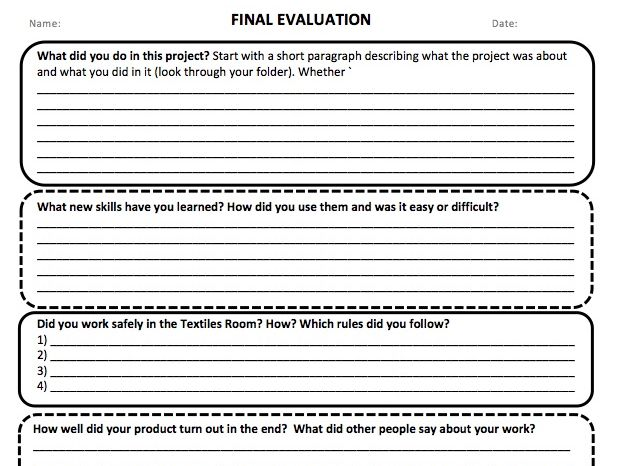 Final Evaluation and helpsheet to support
