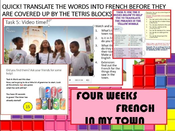 French Year 7 En Ville Town - Home learning - 4 weeks