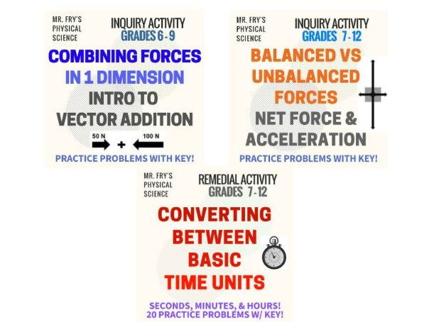 Intro Physics Skills: Combining Forces, Balanced Forces, & Converting Time Units