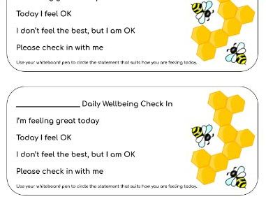 Bee themed wellbeing check in cards.