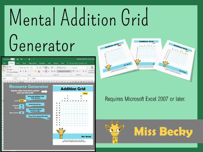 Mental Addition Grid Generator