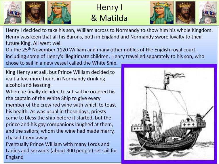 White Ship Disaster - Matilda and Stephen.