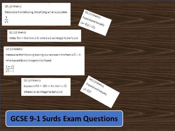 GCSE Maths 9-1 Exam Practise For Surds