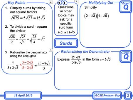 iGCSE Mathematics Revision Day (for Non-Calculator Paper)