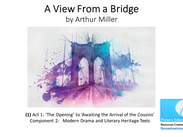 GCSE Literature: (1) 'A View from a Bridge' – Act 1 (1 of 7) 'The Opening' to 'Awaiting the Arrival