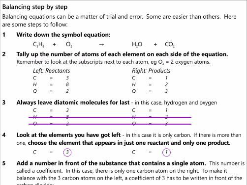 GCSE AQA C1.2 Chemical equations workbook