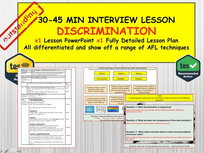 Discrimination: (Interview or Observation Lesson Resources) PSHE Citizenship