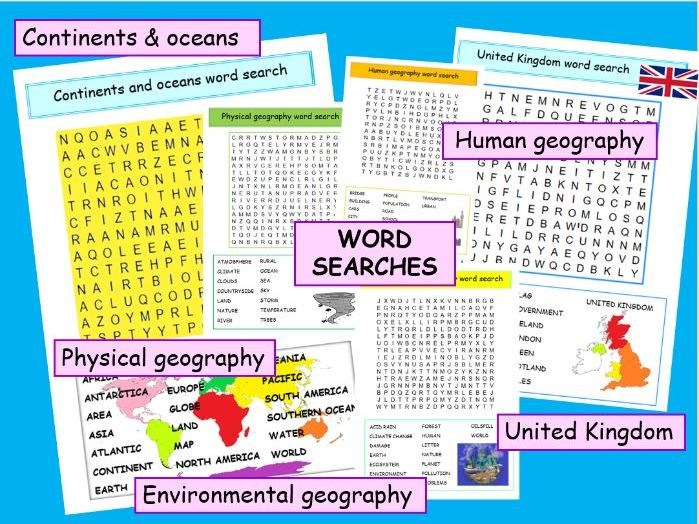 Word search puzzles continents, oceans, UK, human physical & environmental geography -ks2 ks3