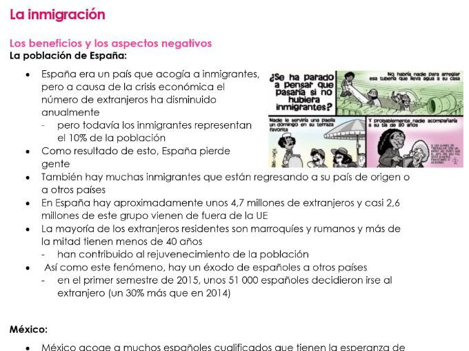 AQA La inmigracion NOTES for NEW A LEVEL SPANISH