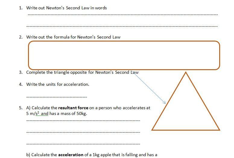 Gcse Physics Worksheet F Ma Definition Formula Q A By