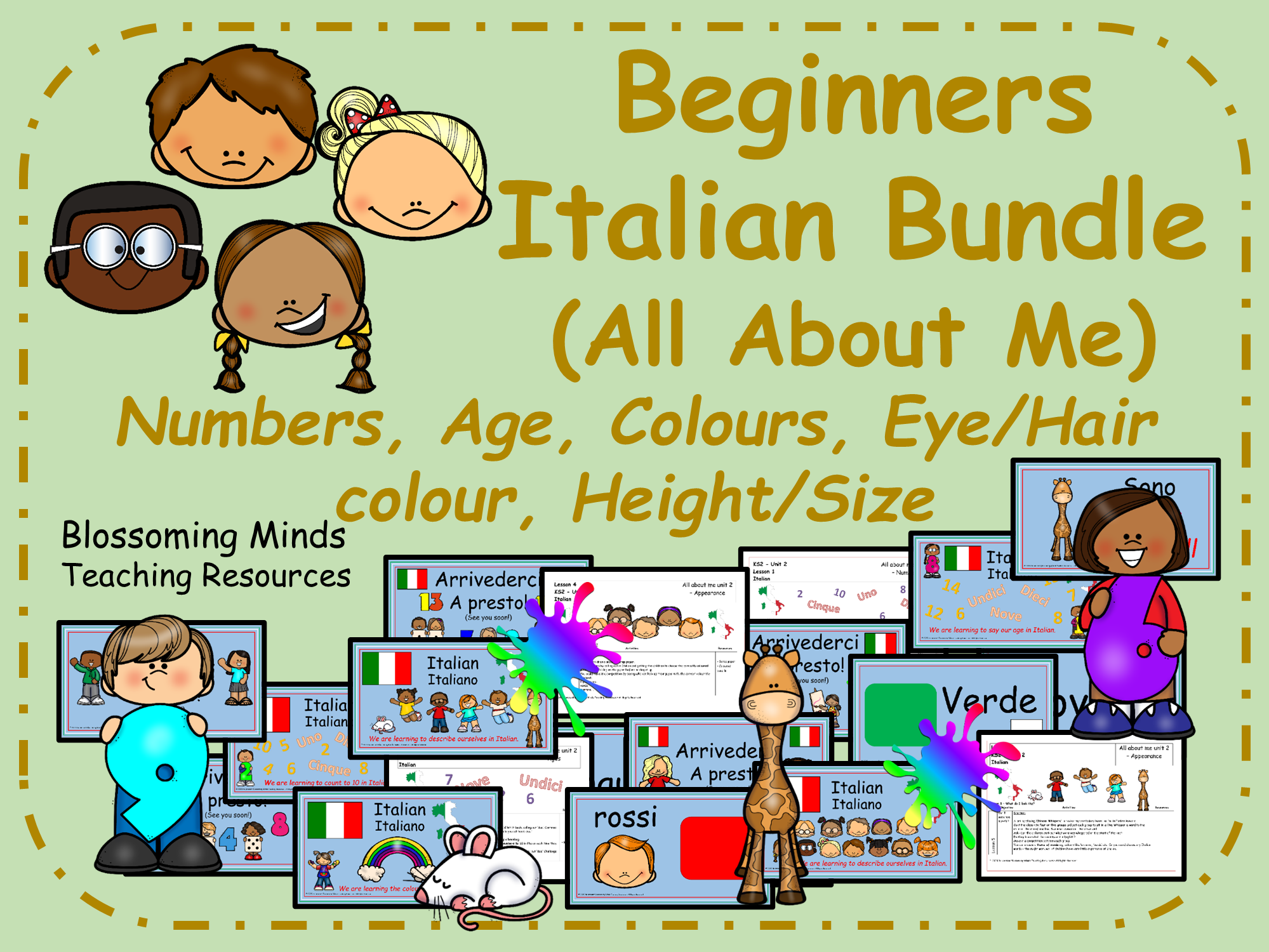 Italian All About Me 5 lesson bundle