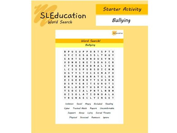 Word Search: Bullying