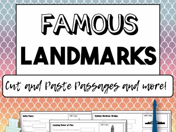 FAMOUS LANDMARKS - Cut and Paste, Reading Comprehension + Research Activities