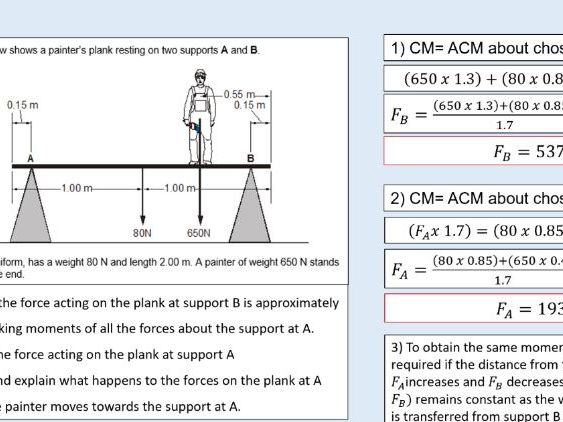 A level Physics (6.3) The principle of moments (Forces in equilibrium)
