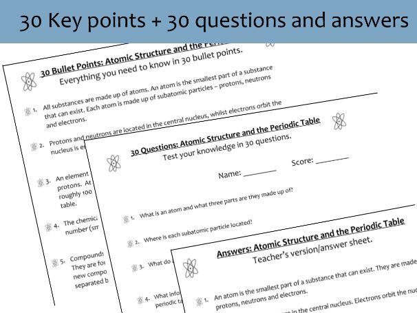 Atomic Structure: Key Point Summary Notes + Questions
