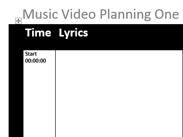 Music Video Planning One Sheet Resource