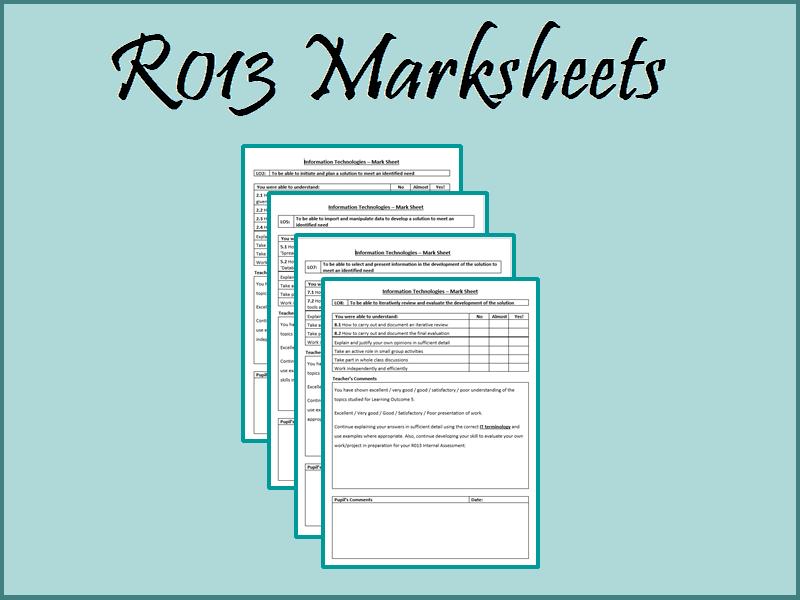R013 End of Unit Marksheets