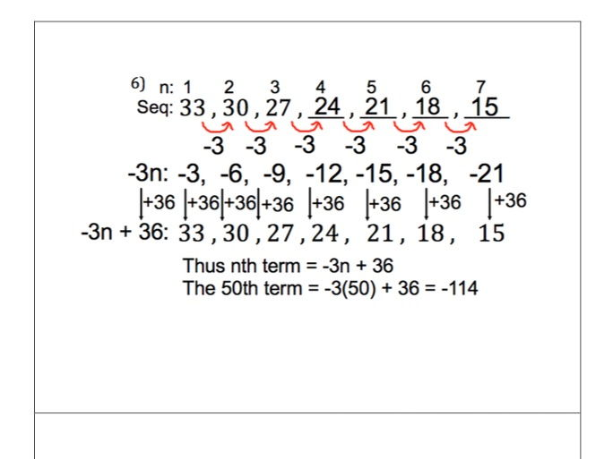 GCSE Maths - 10 Questions -  Linear Sequences - nth term  - includes worked answers