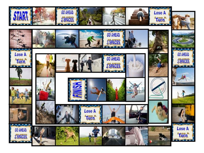 Prepositions of Movement with Photos Board Game