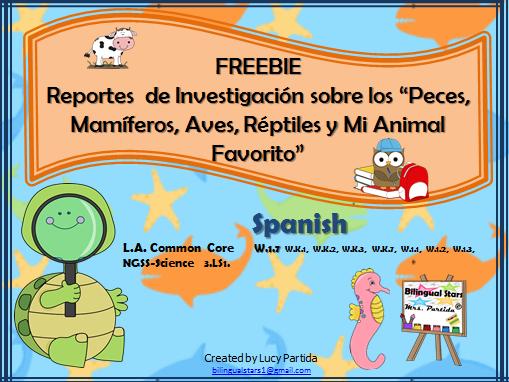 Animal Research Spanish FREEBIE Bilingual Stars Mrs Partida
