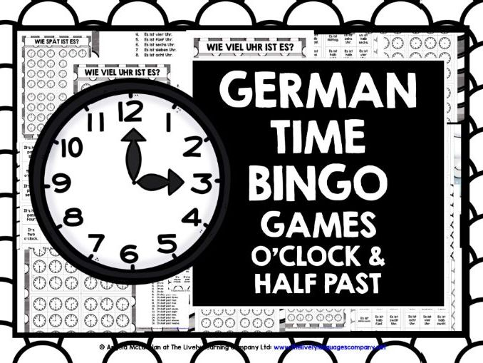 GERMAN  TELLING TIME BINGO 1