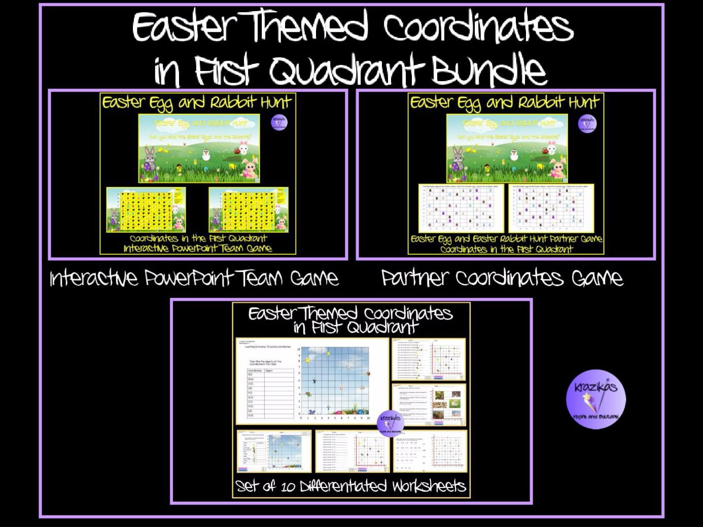 Easter: Easter-Themed Coordinates in the First Quadrant Bundle - Games and Worksheets