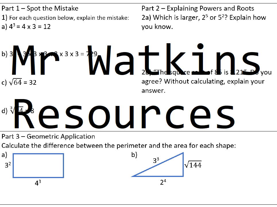 Maths Applied Problem Solving Worksheet Pack - 4 A5 Sheets (Simplifying Algebra, LCM / HCF, Rounding+Estimation,  Powers + Roots)