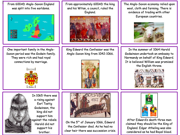 Edexcel Anglo-Saxon revision cardsort- topic overview