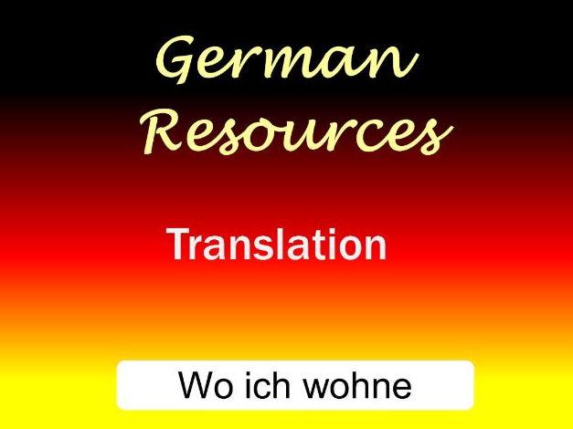 German  Skills - Translation - Where I Live - Wo Ich Wohne