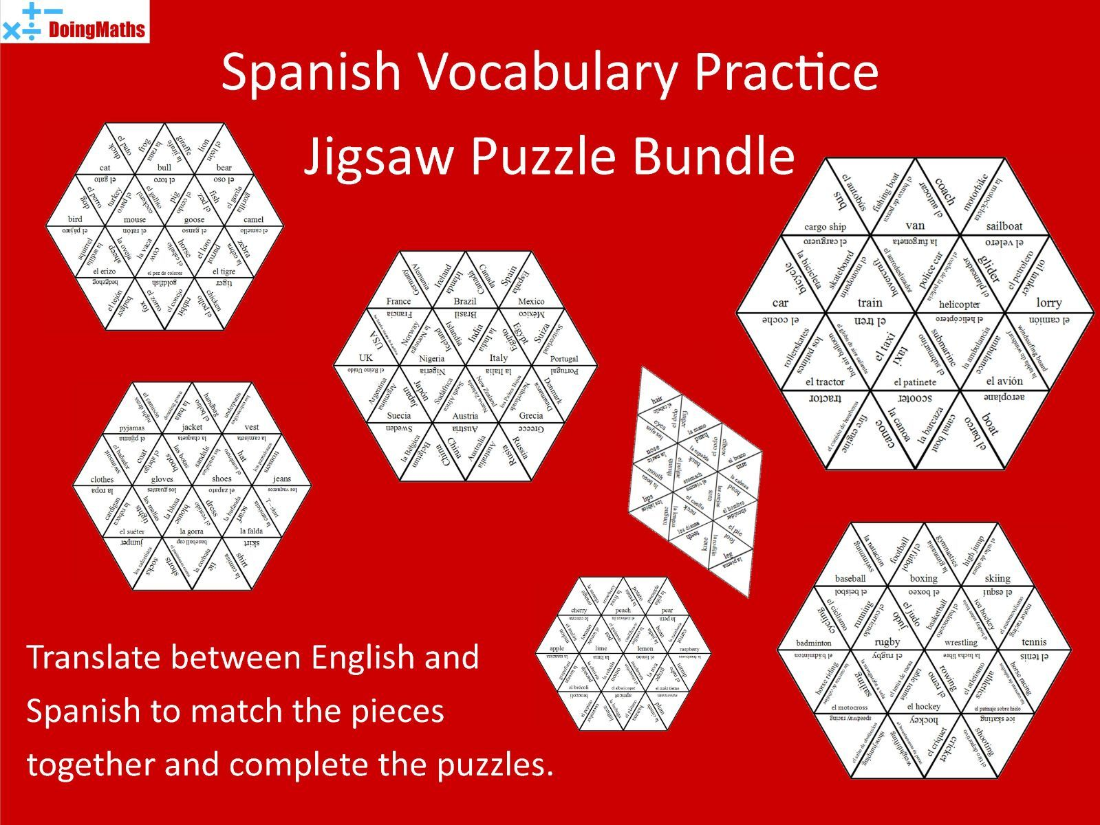 Spanish Vocabulary Practice - Jigsaw Puzzles