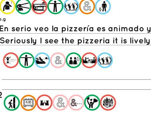 A ks2/3/4 worksheet on the topic of mi cuidad transaltion with infographics