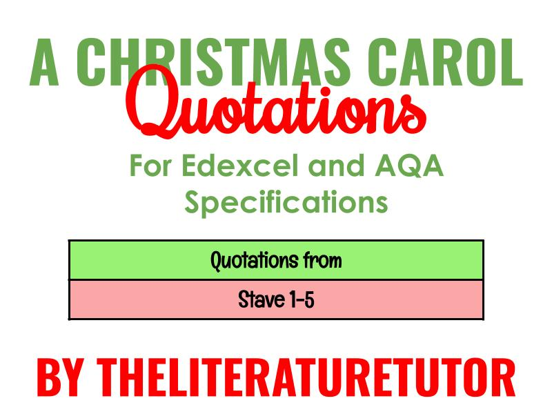 A Christmas Carol Quotation Sheet: Stave 1-5