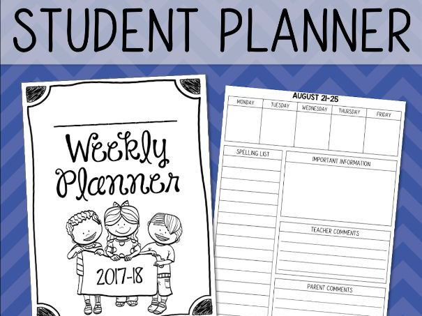 Student Planner Weekly Agenda for 2017-18 UPDATED YEARLY