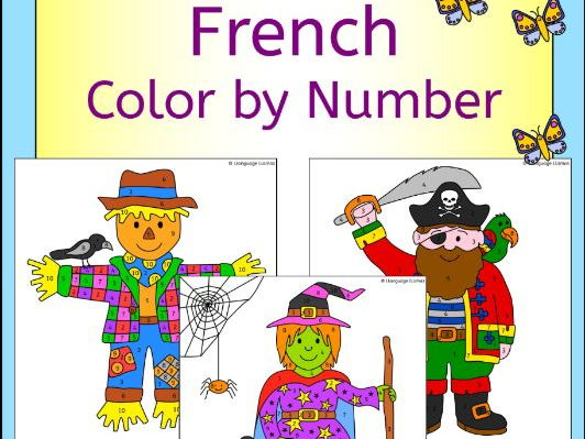 French Color by Number People Pictures - clown witch scarecrow pirate and more