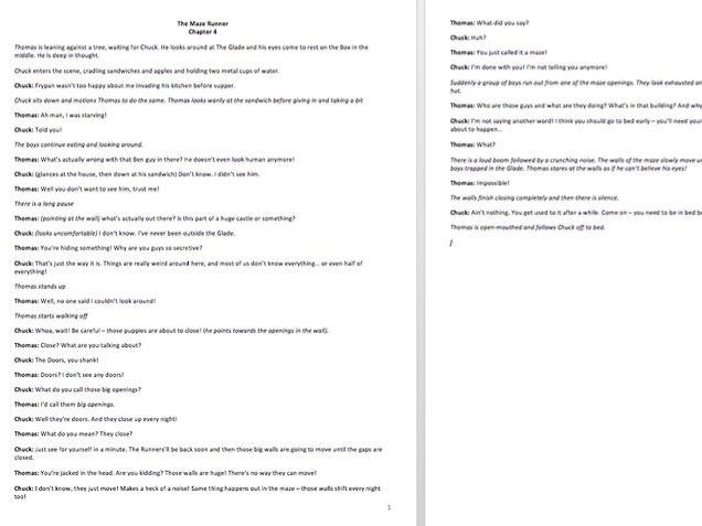 The Maze Runner Script - 8 chapters