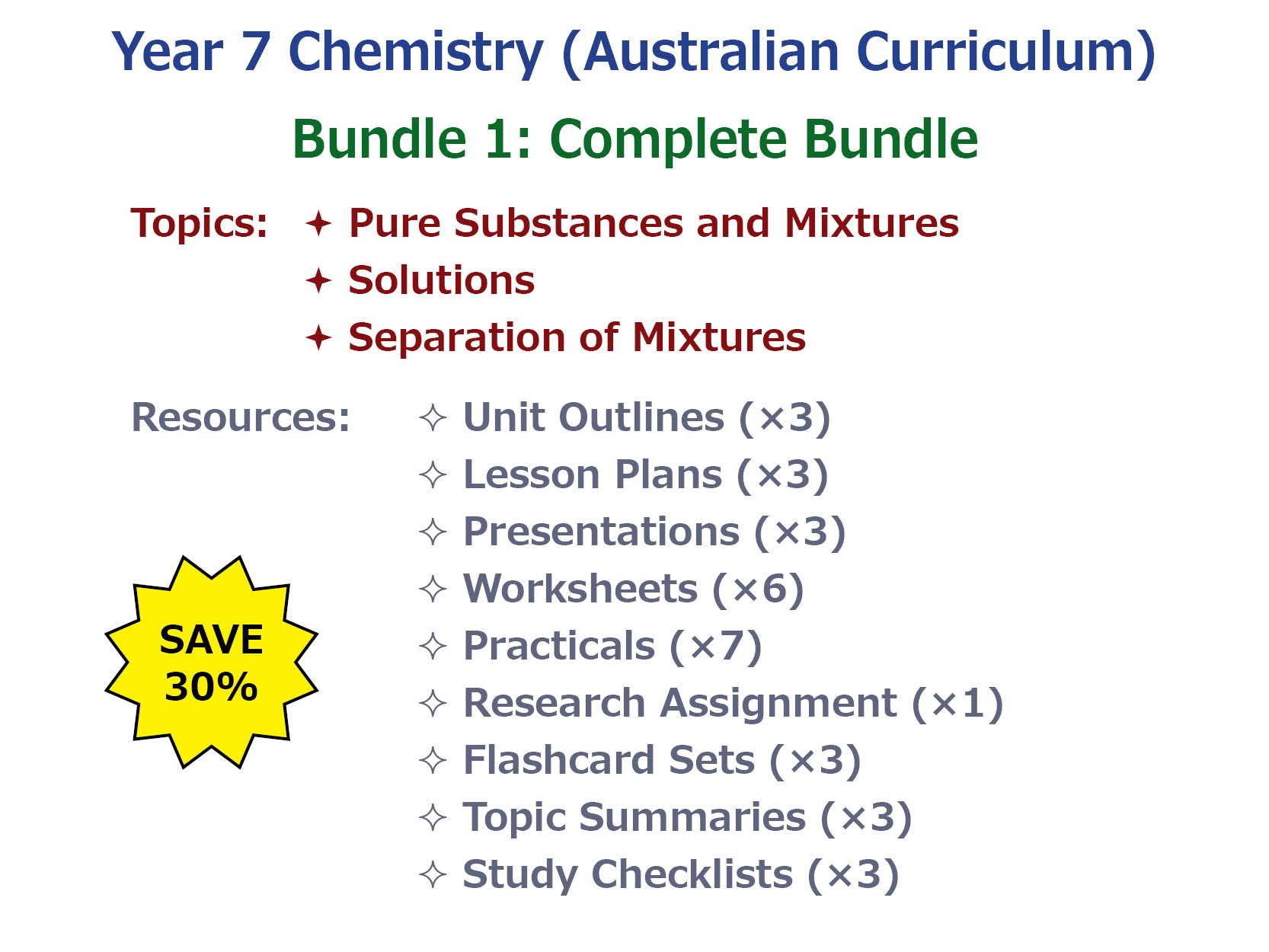 7AU Chemistry: Complete Bundle