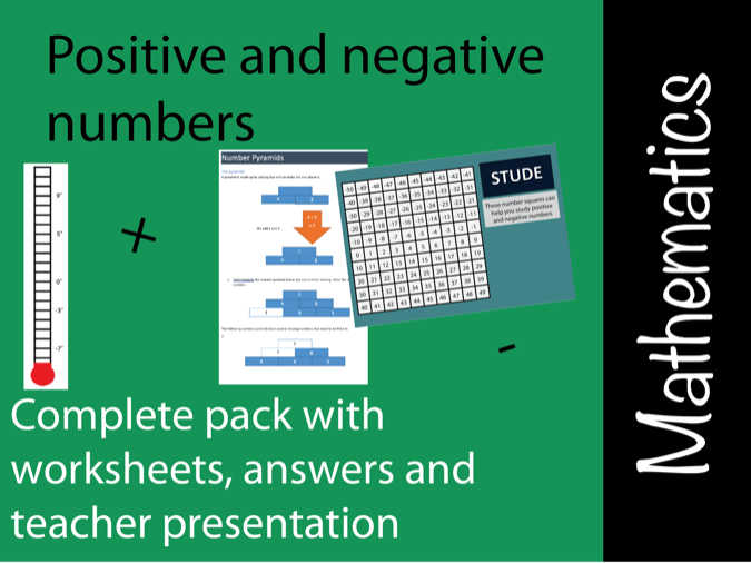 Positive and negative numbers lesson