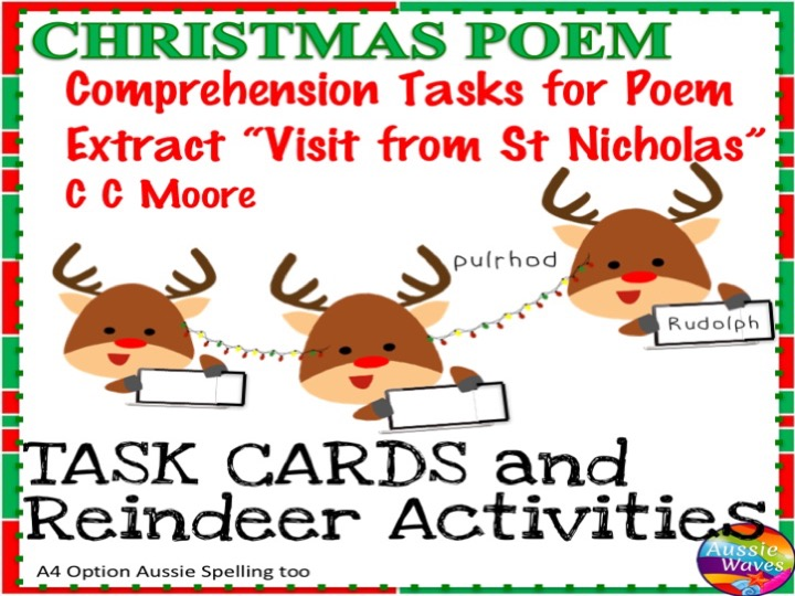 """CHRISTMAS POETRY """"T'was the Night Before Christmas"""" Task Cards Reading Centre"""