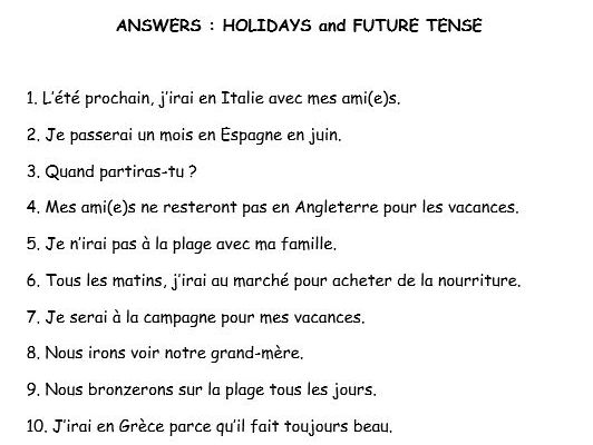GCSE French translation future tense