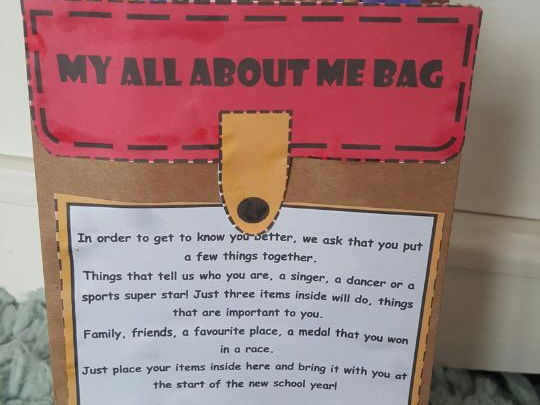 All About me Bag template ideal for transition, new class or starting school