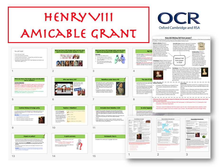 OCR Henry VIII Amicable Grant Rebellion