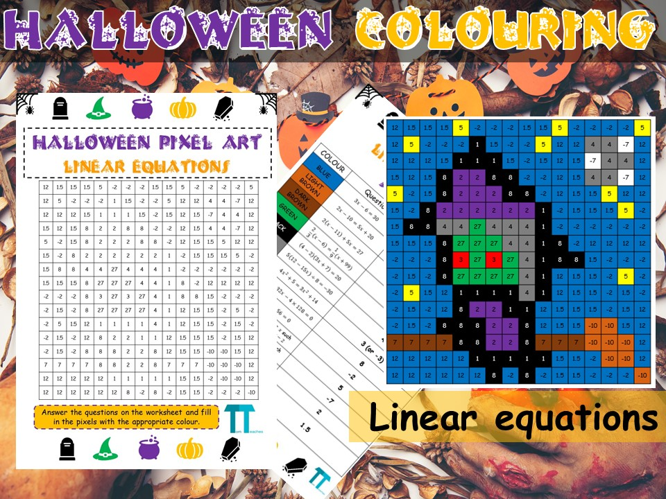 Halloween maths GCSE revision on linear equations