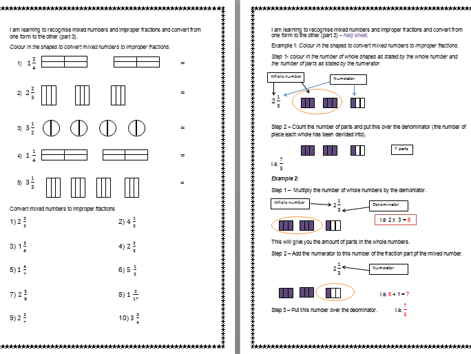 Recognise mixed numbers and improper fractions and convert from one form to the other.