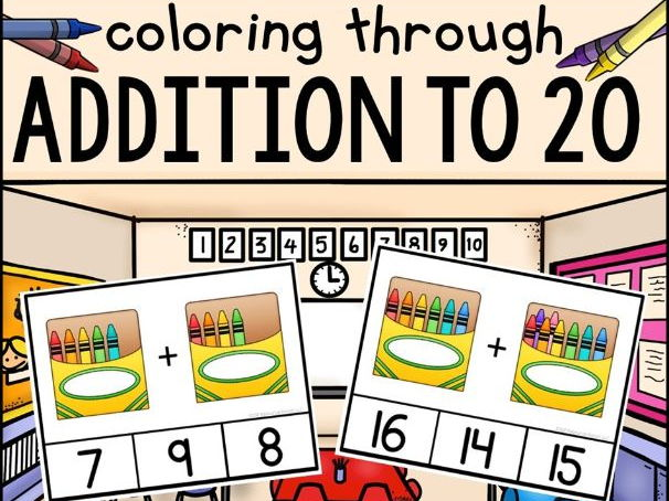 "Addition Clip Cards ""Coloring Through Addition to 20"""
