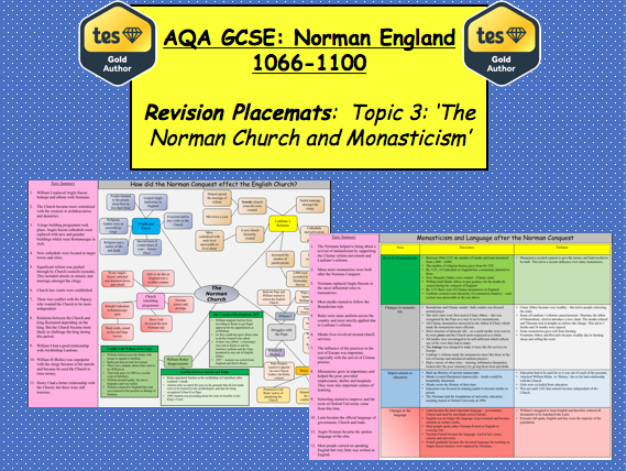 AQA GCSE: Norman England 1066 – 1100 Revision Placemats (Topic 3)