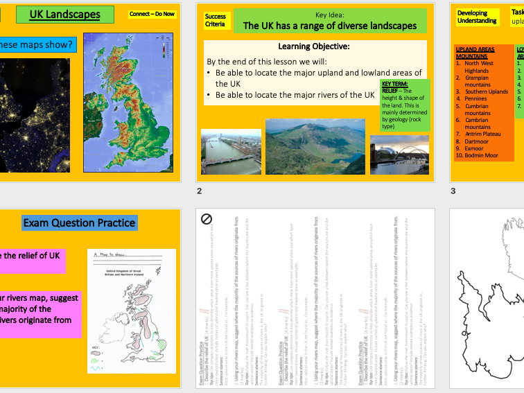 UK Landscapes Mapping Lesson AQA GCSE Geography