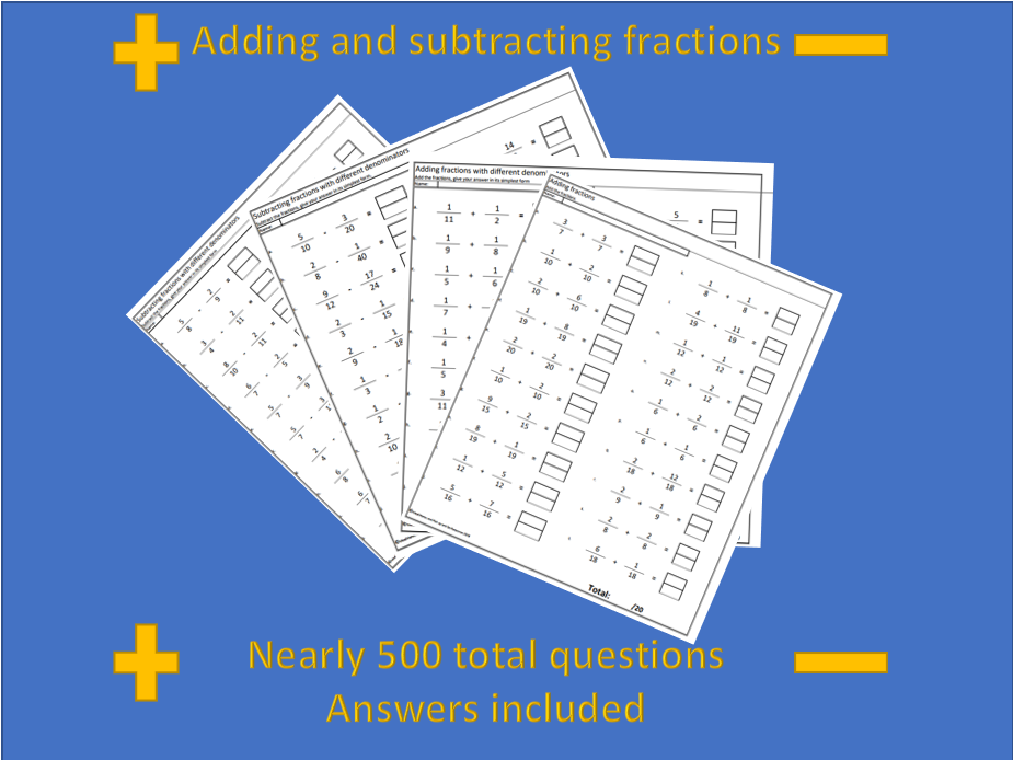 Adding and subtracting fractions differentiated worksheets (nearly 500 questions)